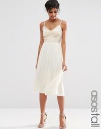 Приталенное платье миди с кружевным лифом и отделкой пайетками ASOS TA