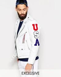 Кожаная куртка с нашивками USA Reclaimed Vintage - Белый
