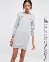 Трикотажное платье с молниями для высоких One Day Tall - Серый меланж