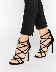 Босоножки на каблуке с ремешками Dune Memphis - Черный замшевый