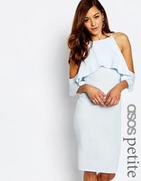 Платье миди с высокой горловиной и вырезами на плечах ASOS PETITE