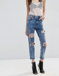 Рваные джинсы слим в винтажном стиле с завышенной талией ASOS FARLEIGH