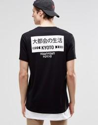 Супердлинная футболка с японским принтом сзади и белой вставкой по низ Asos