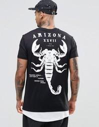 Длинная футболка с принтом скорпион и контрастным асимметричным подоло Asos
