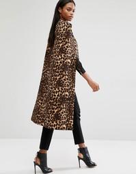 Пальто-кейп без воротника с леопардовым принтом Lavish Alice