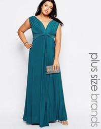 Платье макси размера плюс с узелком спереди Goddiva Plus