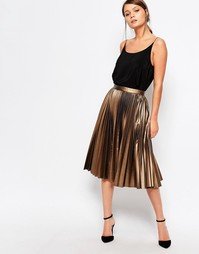 Плиссированная юбка миди с покрытием Closet - Bronze