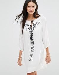 Платье-туника с длинными рукавами и вышивкой Brave Soul