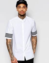 Белая классическая рубашка с принтом в полоску на рукавах ASOS - Белый