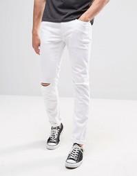 Белые потертые джинсы скинни United Colors of Benetton - Белый
