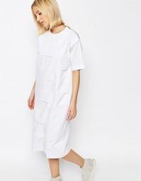 Поплиновое платье с решетчатой отделкой ASOS WHITE