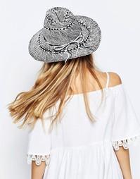 Cоломенная шляпа-федора с монохромным дизайном ASOS - Черно-белый