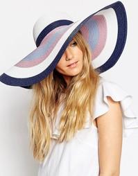 Соломенная шляпа в стиле oversize в пастельную полоску ASOS - Мульти
