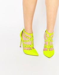Туфли на каблуке с ремешками и заклепками ASOS PROTECTOR - Шартруз