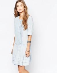 Чайное платье с плиссировкой спереди Deby Debo Odelia - Синий