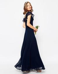 Платье макси с оборкой ASOS WEDDING - Темно-синий