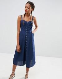 Джинсовое платье миди на пуговицах ASOS Bethany - Темно-синий