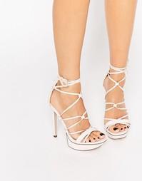 Туфли на каблуке со шнуровкой ASOS HIGHBROW - Бледно-розовый
