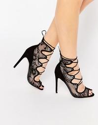 Туфли на каблуке со шнуровкой ASOS PERCEPTION - Черный