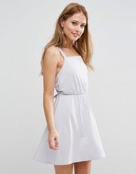 Креповое платье мини с перекрестной спинкой ASOS WEDDING - Серый