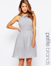 Короткое приталенное платье с отделкой Little Mistress Petite - Серый