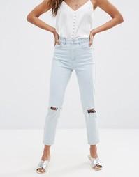 Голубые рваные джинсы слим в винтажном стиле с завышенной талией ASOS