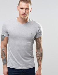 Серая меланжевая футболка слим с логотипом F Farah - Серый меланж