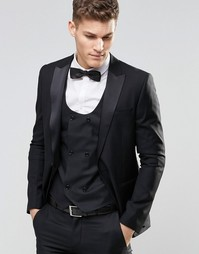 Черный пиджак зауженного кроя из 100% шерсти ASOS - Черный