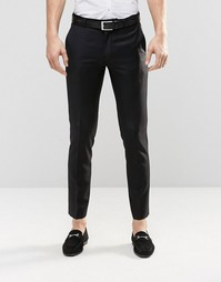 Черные брюки зауженного кроя из 100% шерсти ASOS - Черный