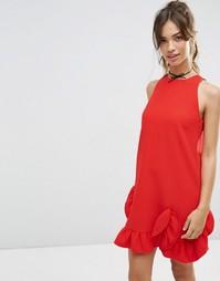 Цельнокройное платье с рюшами ASOS - Красный