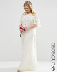 Платье макси с рукавами-бабочка и цветочной 3D-отделкой ASOS CURVE BRI
