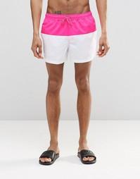 Белые короткие шорты для плавания с ярко-розовой вставкой ASOS