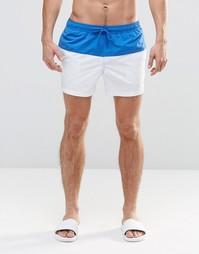 Белые короткие шорты для плавания с синей вставкой ASOS - Синий