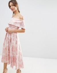 Розовое жаккардовое платье миди для выпускного ASOS - Мульти
