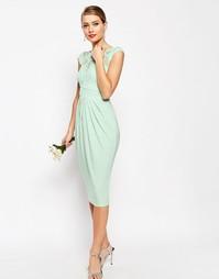 Платье миди с кружевным лифом ASOS WEDDING - Мятный