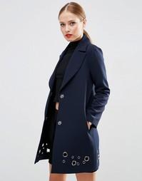 Пальто с люверсами ASOS - Темно-синий