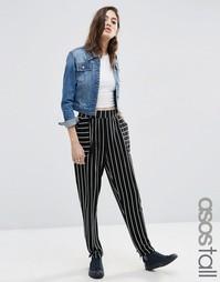 Трикотажные брюки‑галифе в монохромную полоску ASOS TALL