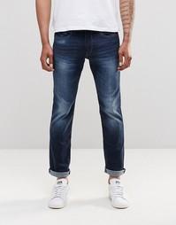 Темно-синие выбеленные джинсы слим Esprit - Темный синий