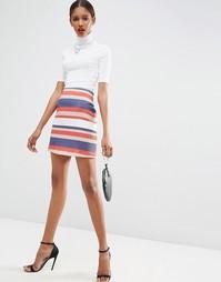 Расклешенная мини-юбка в фактурную полоску ASOS - Многоцветная полоска