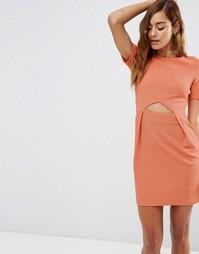 Фактурное платье мини в стиле тюльпан с вырезами ASOS - Пыльно-розовый