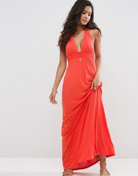 Пляжное платье макси из трикотажа с лямкой через шею ASOS