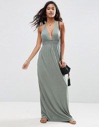 Пляжное платье макси из трикотажа с лямкой через шею ASOS - Хаки
