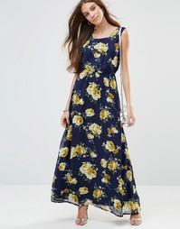Цветочное платье макси Madam Rage - Темно-синий