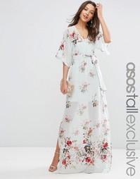 Платье макси с цветочным принтом и вышивкой ASOS TALL SALON - Мульти