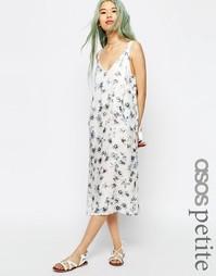 Платье-сорочка миди с цветочным принтом ASOS PETITE - Мульти