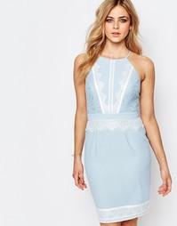 Платье миди с высоким воротом и кружевной отделкой Lipsy - Синий