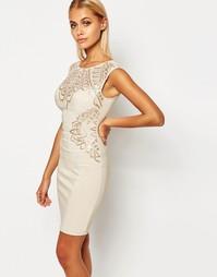 Облегающее платье с отделкой пайетками Lipsy - Телесный с пайетками