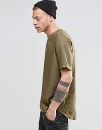 Прямая футболка цвета хаки с короткими рукавами ASOS - Хаки