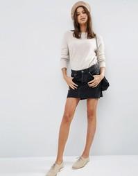 Джинсовая юбка с низкой посадкой ASOS - Выбеленный черный