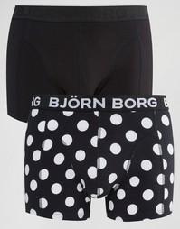 Набор из 2 боксеров-брифов в горошек Bjorn Borg - Черный